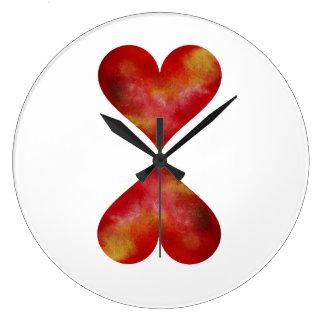 Den röda stora) väggen för hjärtarundan (tar tid stor klocka