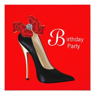Den röda svart kickhälet skor födelsedagsfest fyrkantigt 13,3 cm inbjudningskort