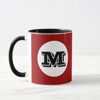 Den röda svart Monogramanpassningsbar skrivev ut Mugg