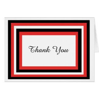 Den röda & svart snyggten tackar dig att card hälsningskort