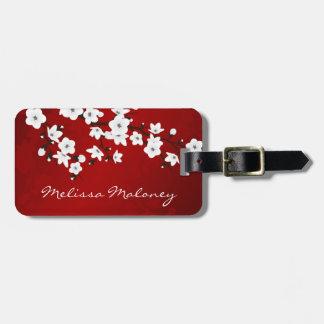 Den röda svartvita körsbärsröda blommar reselappar för väskor