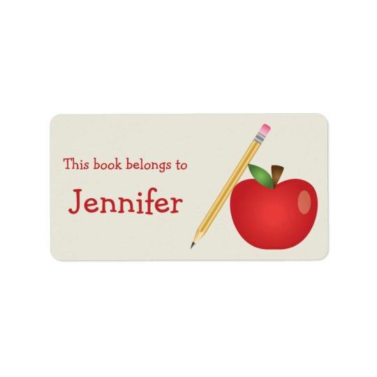 Den röda tecknaden Apple och gult ritar & Adressetikett