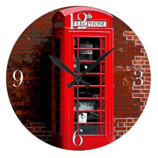 Den röda telefonen boxas London England UK Stor Klocka