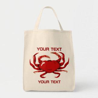 Den röda totot för krabbamalllivsmedel hänger lös tygkasse