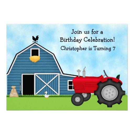 Den röda traktor- och blåttladugårdfödelsedagen in inbjudan