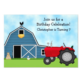 Den röda traktor- och blåttladugårdfödelsedagen 12,7 x 17,8 cm inbjudningskort
