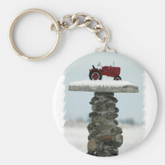 Den röda traktoren knäppas Keychain Rund Nyckelring