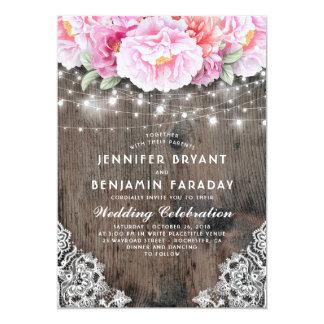 Den rodna och rosa blommigten stränger lantligt 12,7 x 17,8 cm inbjudningskort