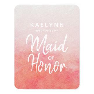 Den rodna rosa vattenfärgen ska dig är min maid of 10,8 x 14 cm inbjudningskort