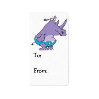 den roliga enfaldiga noshörningen i undies sammanf adressetikett