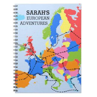 Den roliga färgrika personligeuropén reser anteckningsbok med spiral