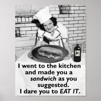 Den roliga feministen gör mig en smörgås poster