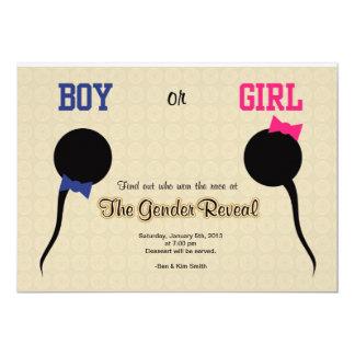Den roliga gender avslöjer 12,7 x 17,8 cm inbjudningskort