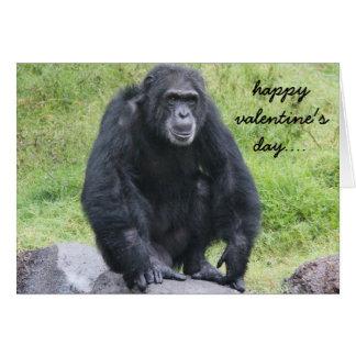 Den roliga schimpansvalentinen, önskar att härma hälsningskort