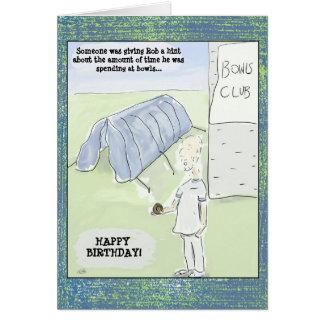 Den roliga tecknaden bowlar födelsedagkortet hälsningskort