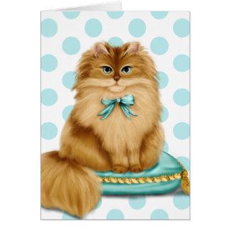 Den roliga utsmyckade katten kudder på hälsningskort