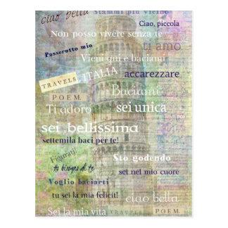 Den romantiska italienare formulerar och ord vykort