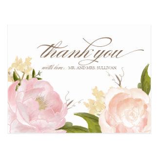 Den romantiska vattenfärgen blommar tackvykortet vykort