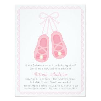 Den rosa ballerinaen skor flickababy 10,8 x 14 cm inbjudningskort