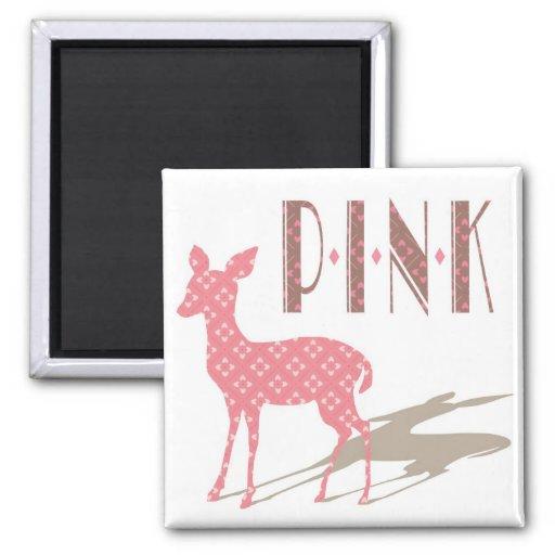 Den rosa Bambi designen kvadrerar magneten Magneter För Kylskåp