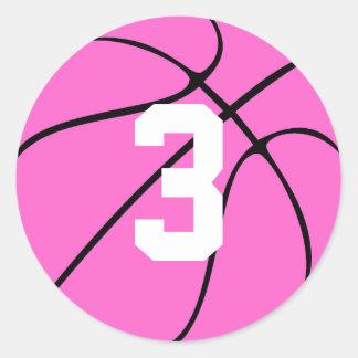 Den rosa basketspelare Jersey numrerar eller märka Runt Klistermärke