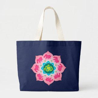 Den rosa blomman för elefantNamaste lotusblomma hä Jumbo Tygkasse