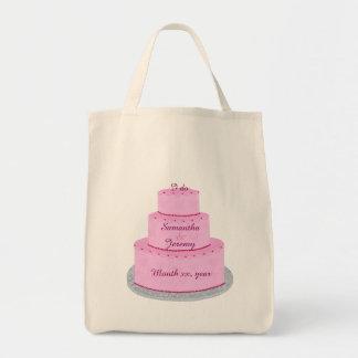 Den rosa bruden för tårtahjärtapersonligen hänger mat tygkasse
