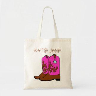 Den rosa Cowgirlnamnmallen hänger lös Tygkasse