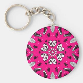 Den rosa döskallar och skor rund nyckelring
