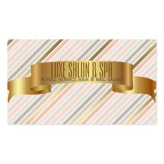 Den rosa eleganten & guld görar randig visitkorten set av standard visitkort