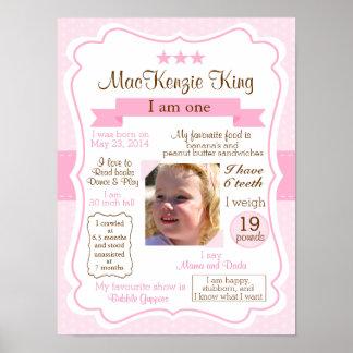 Den rosa flickan ett år undertecknar för din poster