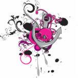 den rosa gotiska skallen och ankrar vektorkonstdes photo sculpture