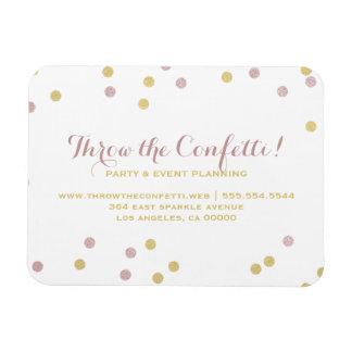 Den rosa & guld- konfettin pricker affärsmagneten rektangulär magnet