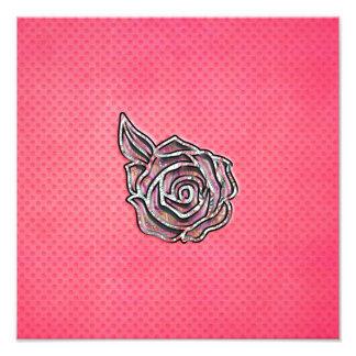 Den rosa gulliga flickaktigt blom- polkaen pricker fotografiskt tryck