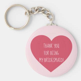Den rosa hjärtabrudtärnan tackar dig rund nyckelring