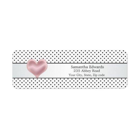 Den rosa hjärtasvartpolkaen pricker den Avery Returadress Etikett