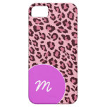 Den rosa leoparden flår med monogramen iPhone 5 Case-Mate skydd
