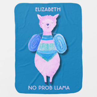 Den rosa llamaen i pastell färgar ingen ProbLlama Bebisfilt