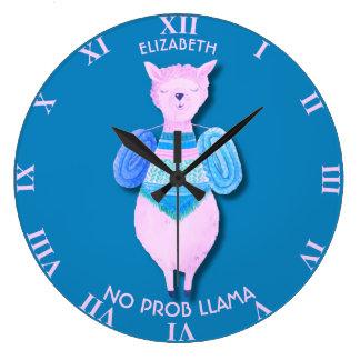 Den rosa llamaen i pastell färgar ingen ProbLlama Stor Klocka