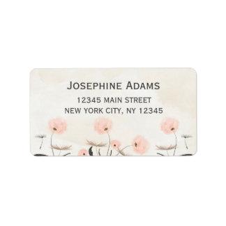 Den rosa maskrosen blommar adressetikett