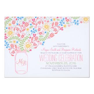den rosa masonburkkreativet blommar 12,7 x 17,8 cm inbjudningskort