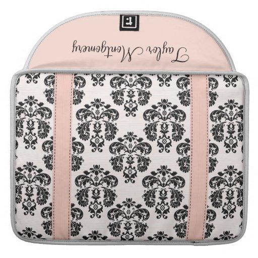 Den rosa och svart damastast MacBook Pro sleeven m Sleeve För MacBooks