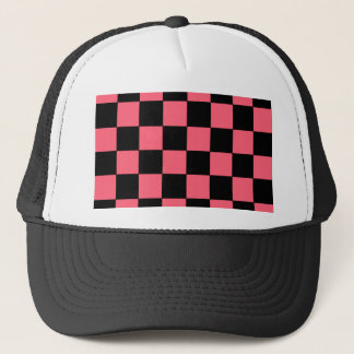 Den rosa och svart laxen kvadrerar schackbräde truckerkeps