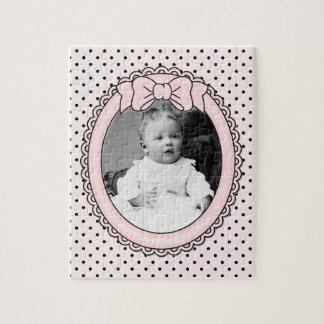 Den rosa ovala ramen med pilbågen - skräddarsy med pussel