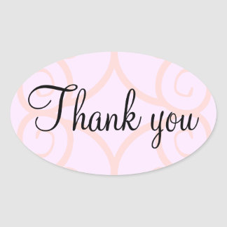 Den rosa ovalen tackar dig klistermärkear ovalt klistermärke