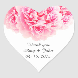 Den rosa pionbröllopklistermärken märker peony3 hjärtformat klistermärke