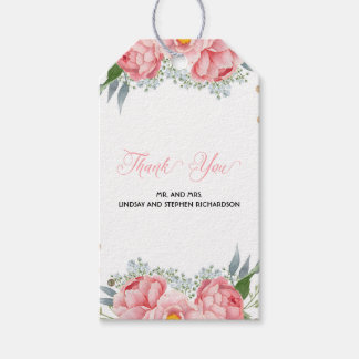Den rosa pionen blommar vattenfärgelegant bröllop presentetikett