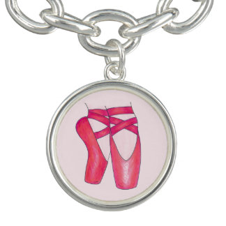 Den rosa Pointe toen skor balettBallerinadans Berlockarmband