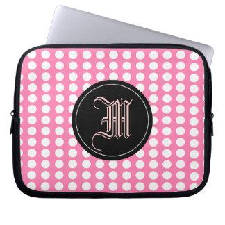 den rosa polka dots, pricker, monogramen laptopfodral