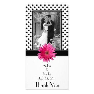 Den rosa polkaen för daisysvartvit pricker att fotokort